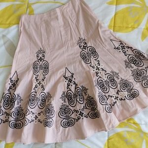 Embroidered A-line Pink Skirt